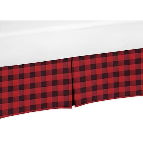 Woodland Buffalo Plaid Collection Boy Crib Bed Skirt - Red and Black Rustic Country Lumberjack