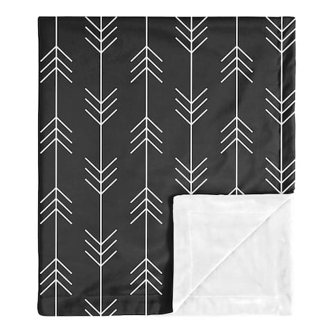 Woodland Arrow Boy Baby Receiving Security Swaddle Blanket - Black White Rustic Patch Collection
