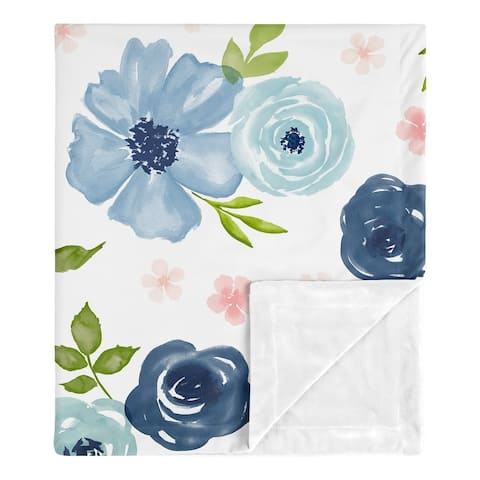 Navy Blue Pink Watercolor Floral Girl Baby Receiving Security Swaddle Blanket - Blush Green Shabby Chic Rose