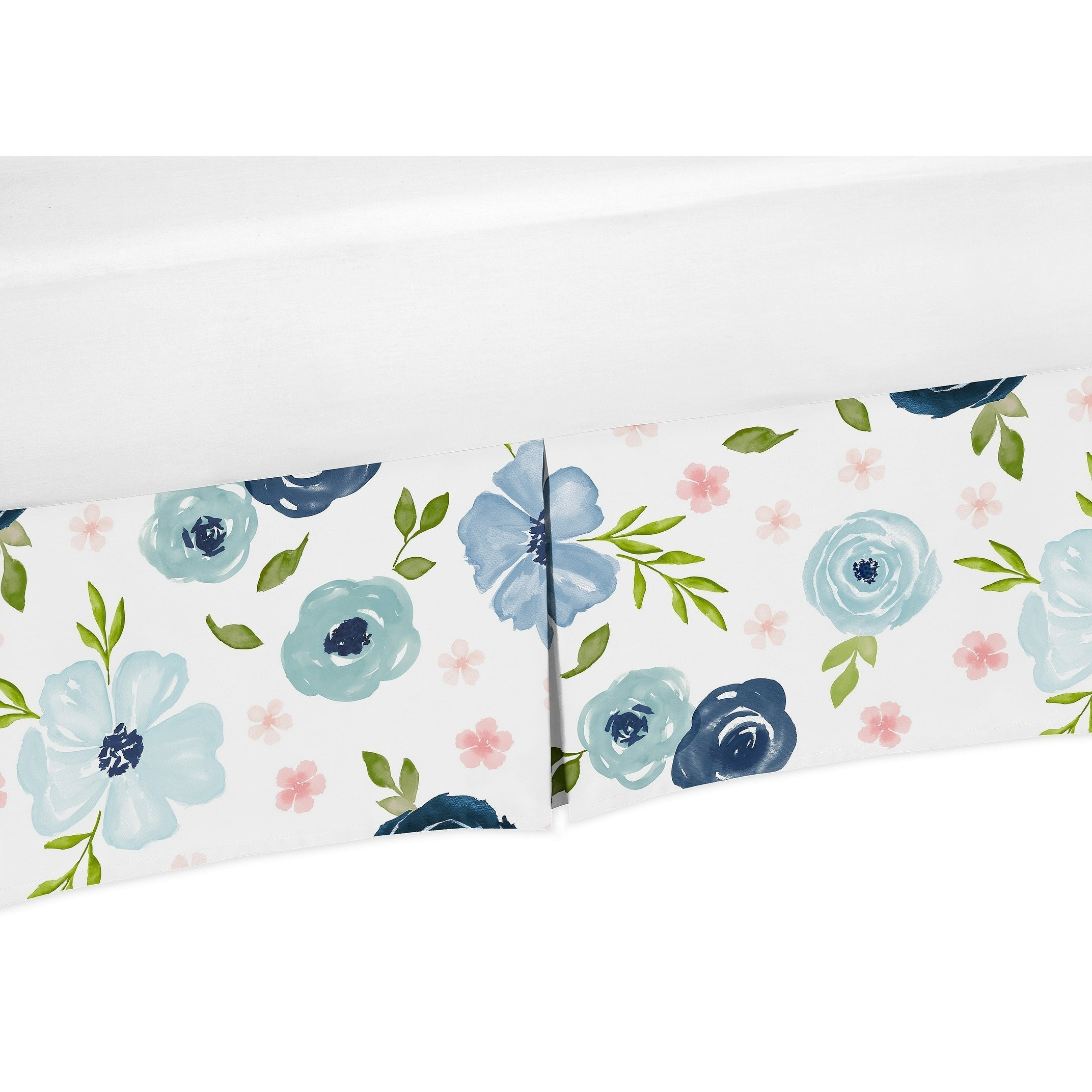 Navy Blue And Pink Watercolor Floral Girl Crib Bed Skirt Blush Green And White Shabby Chic Rose Flower Overstock 30757311