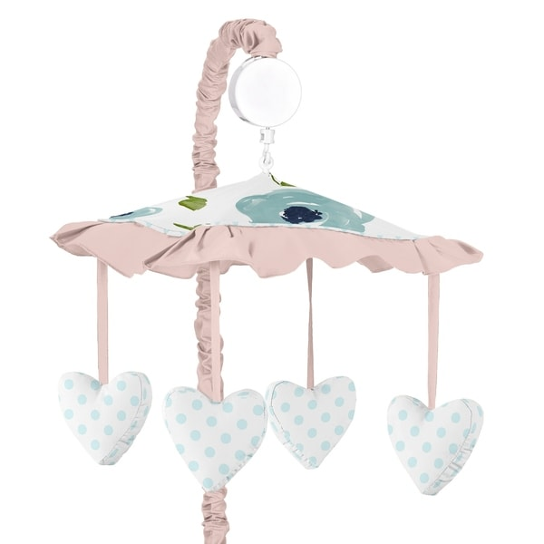 Navy Blue and Pink Watercolor Floral Girl Musical Crib Mobile - Blush Green White Shabby Chic Rose Polka Dot. Opens flyout.