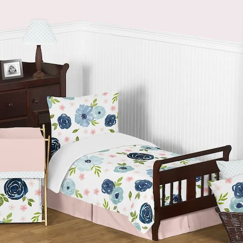 Navy Blue and Pink Watercolor Floral Girl 5pc Toddler Comforter Set - Blush Green White Shabby Chic Flower