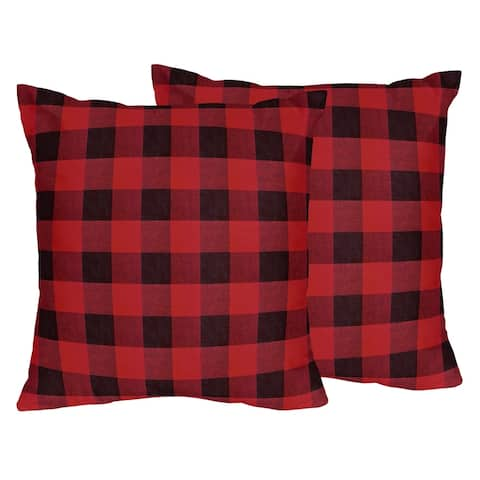 Woodland Buffalo Plaid Collection 18in Decorative Accent Throw Pillows (Set of 2) - Red Black Rustic Country Lumberjack