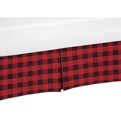 Woodland Buffalo Plaid Collection Queen Bed Skirt - Red and Black Rustic Country Lumberjack