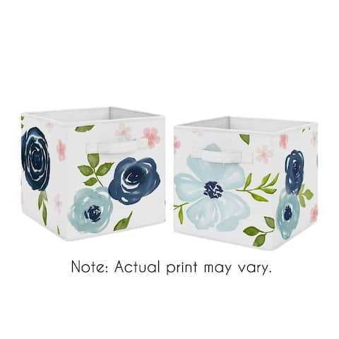 Navy Blue and Pink Watercolor Floral Foldable Fabric Storage Bins - Blush Green White Shabby Chic Rose Flower