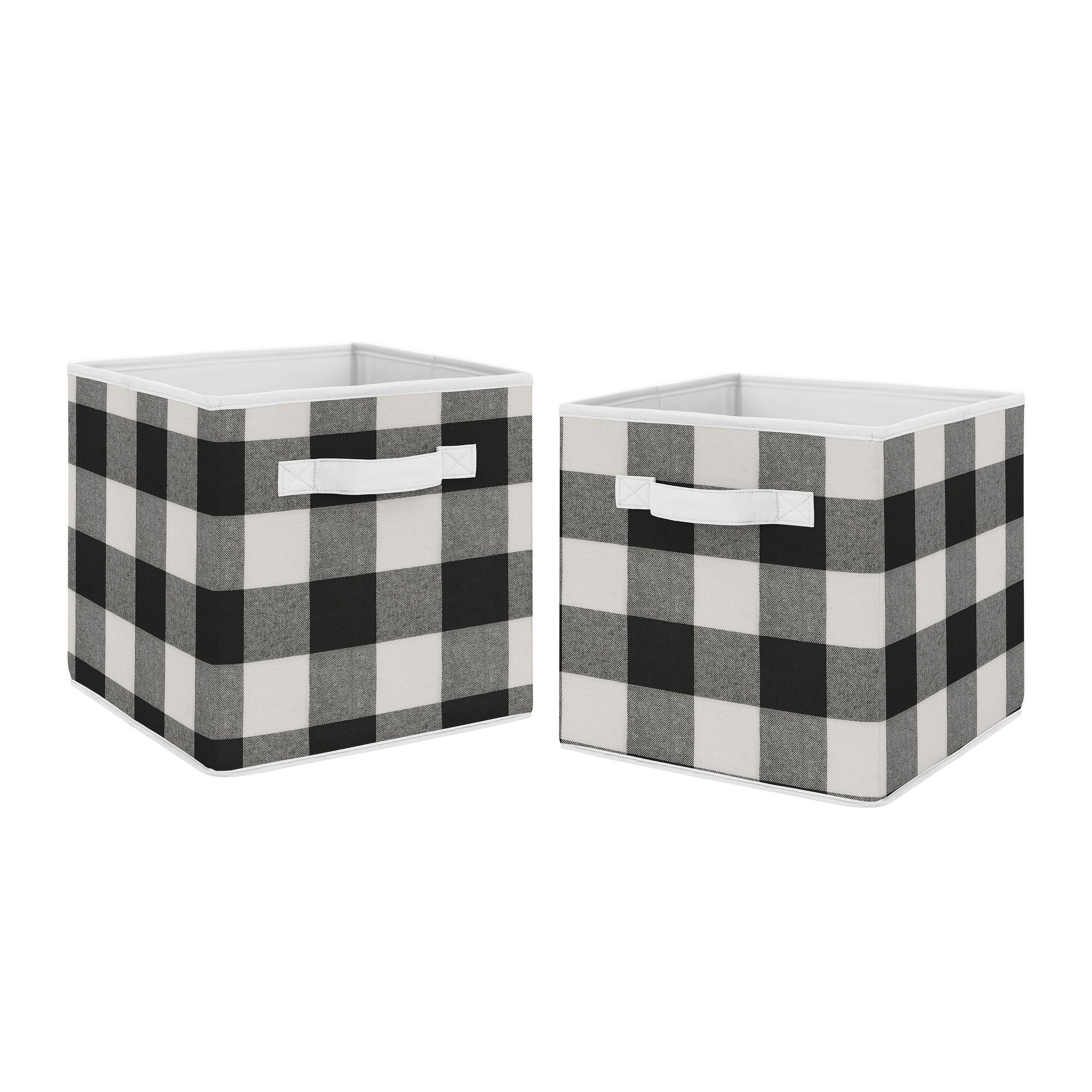 Buffalo Plaid Collection Foldable Fabric Storage Bins Black And White Check Rustic Woodland Flannel Overstock 30757343