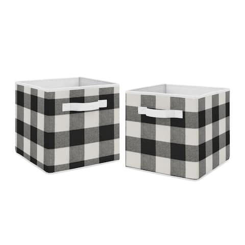 Buffalo Plaid Collection Foldable Fabric Storage Bins - Black and White Check Rustic Woodland Flannel