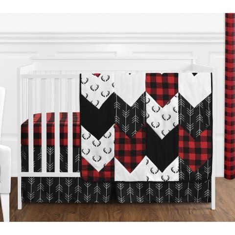 Woodland Buffalo Plaid Collection Boy 4pc Nursery Crib Bedding Set - Red and Black Rustic Country Deer Lumberjack Arrow