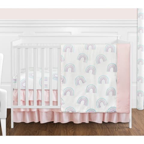 Pastel Rainbow Collection Girl 4-piece Nursery Crib Bedding Set - Blush Pink, Purple, Teal, Blue and White