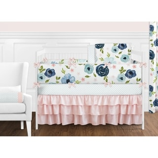 Navy Blue and Pink Watercolor Floral Girl 9pc Nursery Crib Bedding Set - Blush Green White Shabby Chic Flower