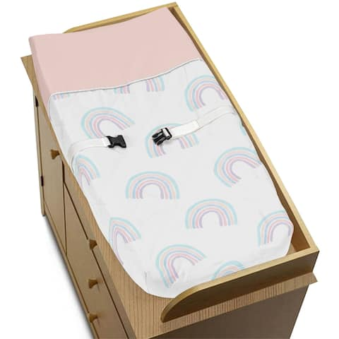 Pastel Rainbow Collection Girl Changing Pad Cover - Blush Pink, Purple, Teal, Blue and White