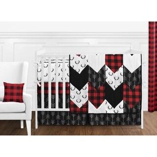 Woodland Buffalo Plaid Collection Boy 9pc Nursery Crib Bedding Set - Red and Black Rustic Country Deer Lumberjack Arrow