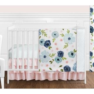 Sweet Jojo Designs Navy Blue and Pink Watercolor Floral Girl 4pc Nursery Crib Bedding Set - Blush Green White Shabby Chic Flower