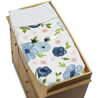 Navy Blue Pink Watercolor Floral Girl Changing Pad Cover - Blush Green White Shabby Chic Flower Polka Dot