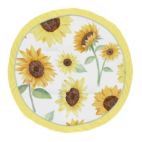 Sunflower Collection Girl Baby Tummy Time Playmat - Yellow Green and White Farmhouse Watercolor Flower