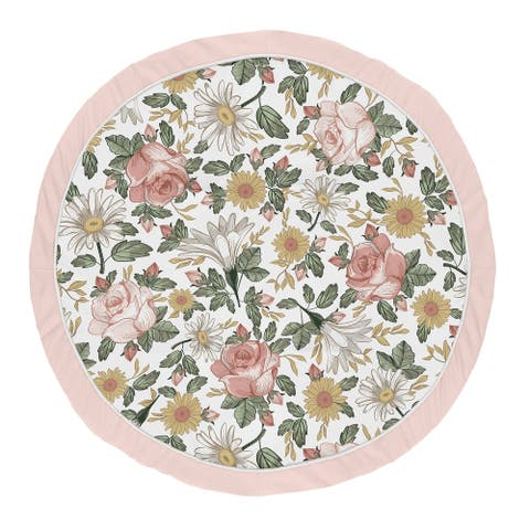 Vintage Floral Girl Baby Tummy Time Playmat - Blush Pink Yellow Green Boho Shabby Chic Rose Flower Farmhouse