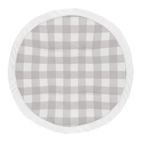 Grey Plaid Boy Girl Baby Tummy Time Playmat - Gray Rustic Woodland Buffalo Check Flannel Country Lumberjack