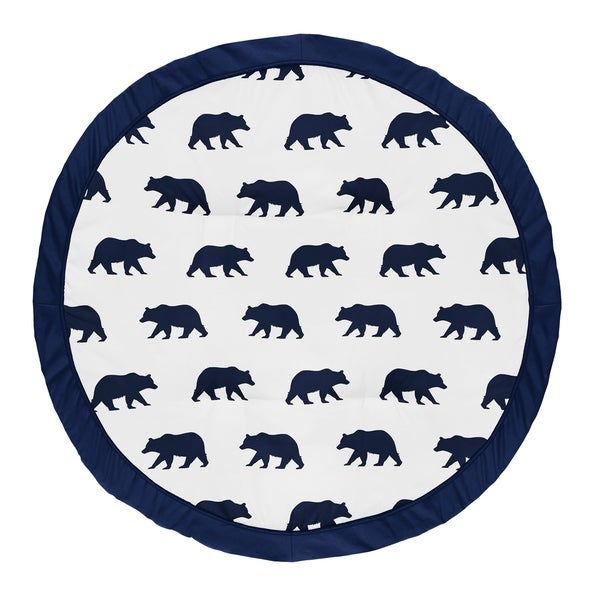 Woodland Bear Collection Boy Baby Tummy Time Playmat - Navy Blue and White. Opens flyout.