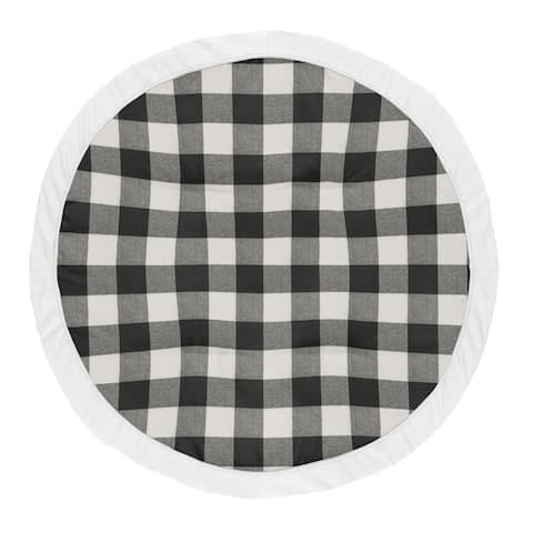 Black Plaid Boy Girl Baby Tummy Time Playmat - White Rustic Woodland Buffalo Check Flannel Country Lumberjack