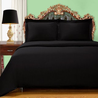 Superior 300 Thread Count Stripe Cotton Sateen 2 Piece Twin Size Duvet Cover Set in Navy (As Is Item)