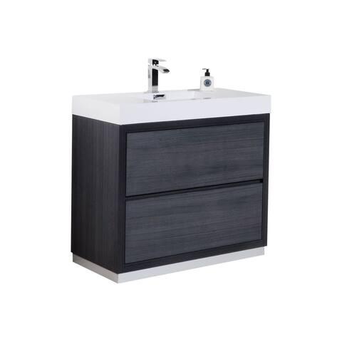 "Bliss 40"" Gray Oak Free Standing Modern Bathroom Vanity"