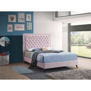 Glory Furniture Alba Velvet Bed with Optional Side Panels