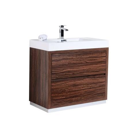 "Bliss 40"" Walnut Free Standing Modern Bathroom Vanity"