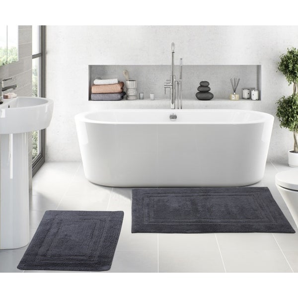 Hotel Quality Shower Mat- Blue Luxury Feel Plush Bath Rug Runner Oversize Non Slip Bath Rug 22 x 60 Inch Pure Cotton Soft Bathroom Mat Cotton Bath Rug Extra Absorbent Machine Washable