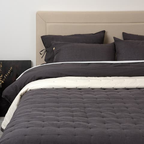 Aurora Home Linen and Cotton Tufted Quilt