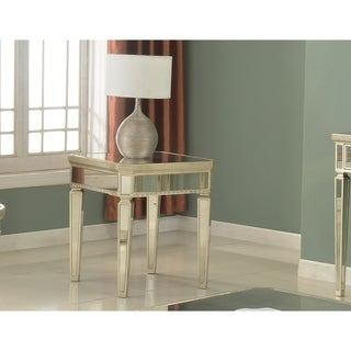 Best Master Furniture Silver Mirrored with Gold Square End Table
