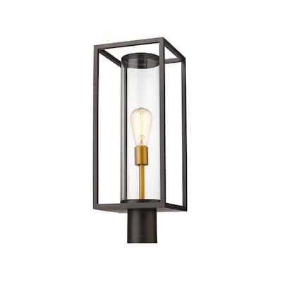 Dunbroch 1 Light Outdoor Post Mount Fixture - Deep Bronze + Outdoor Brass - Deep Bronze + Outdoor Brass