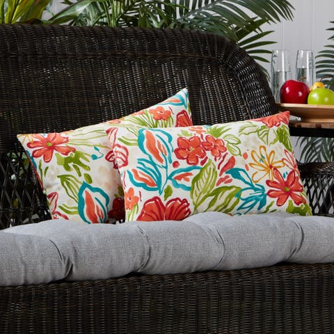 Breeze Floral 19-inch x 12-inch Outdoor Accent Pillow (Set of 2)