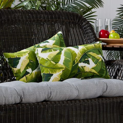 San Elijo Palm Leaves White Outdoor Lumbar Pillows (Set of 2) by Havenside Home