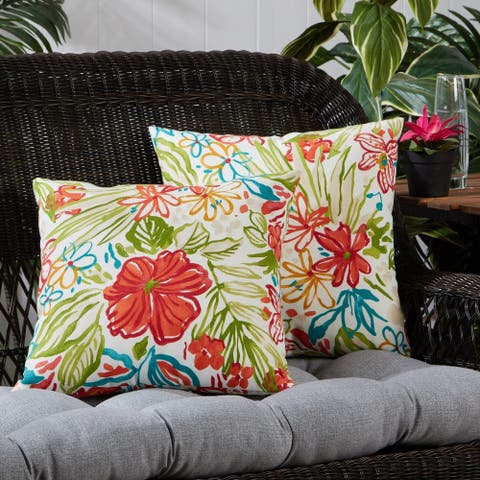 Breeze Floral Outdoor 17-inch Square Accent Pillow (Set of 2)