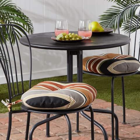 Brick Stripe Outdoor 15-inch Bistro Chair Cushion (Set of 2)