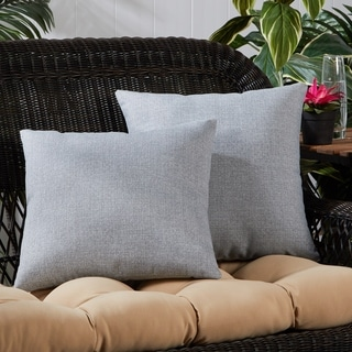Heather Gray Outdoor 17-inch Square Accent Pillow (Set of 2)