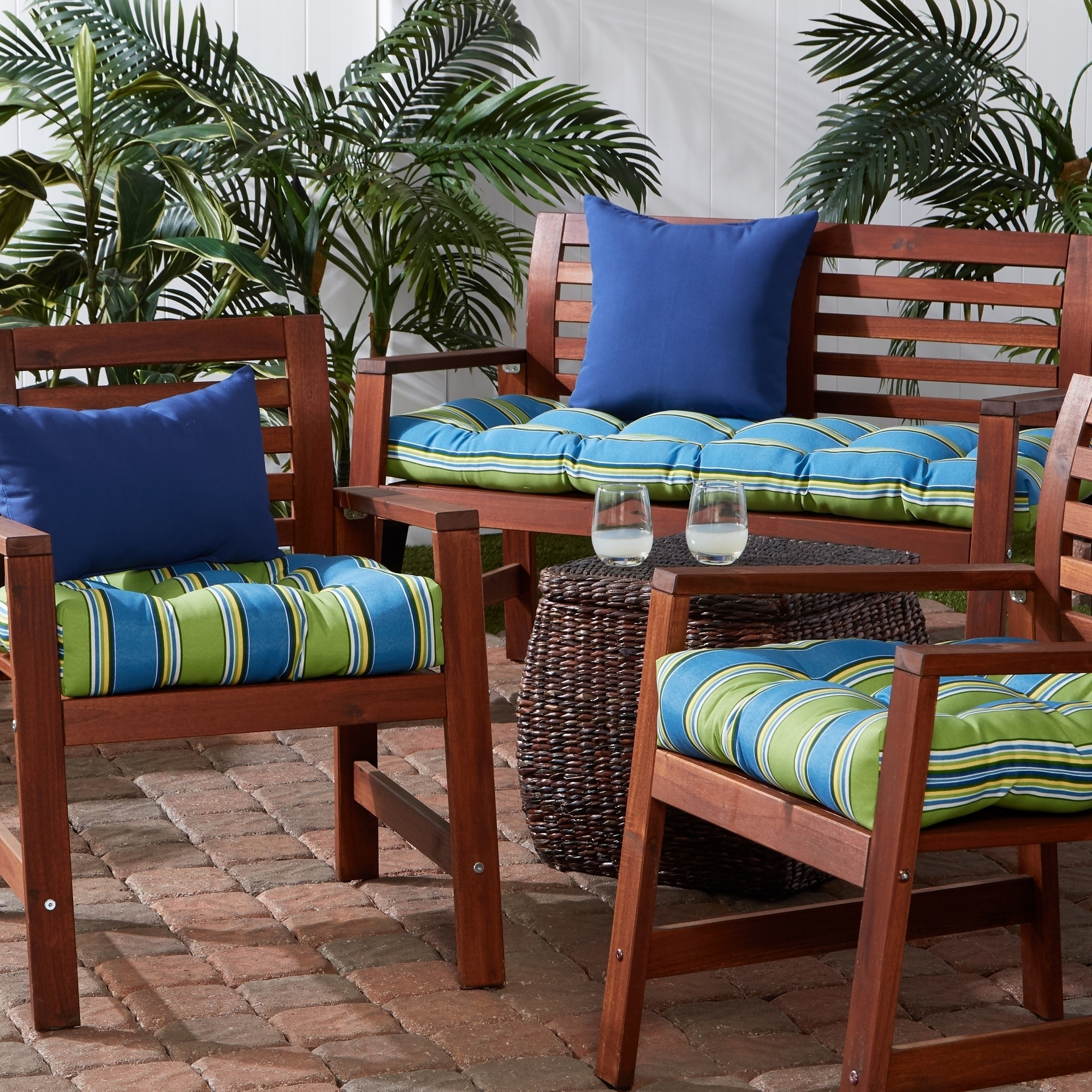 2-Pack Mid-Back Outdoor Dining Chair Cushion in Caprice Stripe 20 in x 20 in
