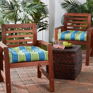 Link to Cayman Stripe 20-inch Outdoor Dining Seat Cushion (Set of 2) Similar Items in Glasses & Barware