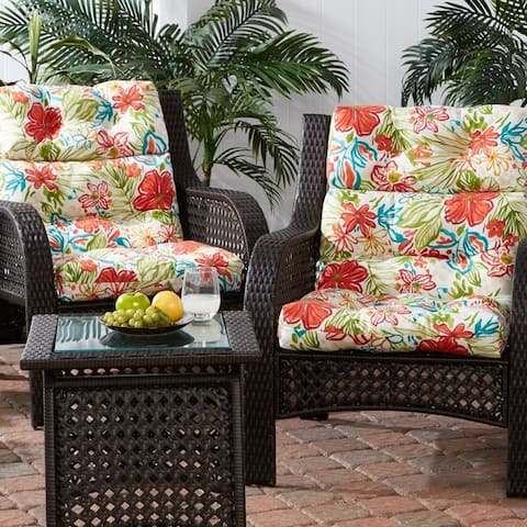 Breeze Floral 22-inch x 44-inch Outdoor High Back Chair Cushion (Set of 2)