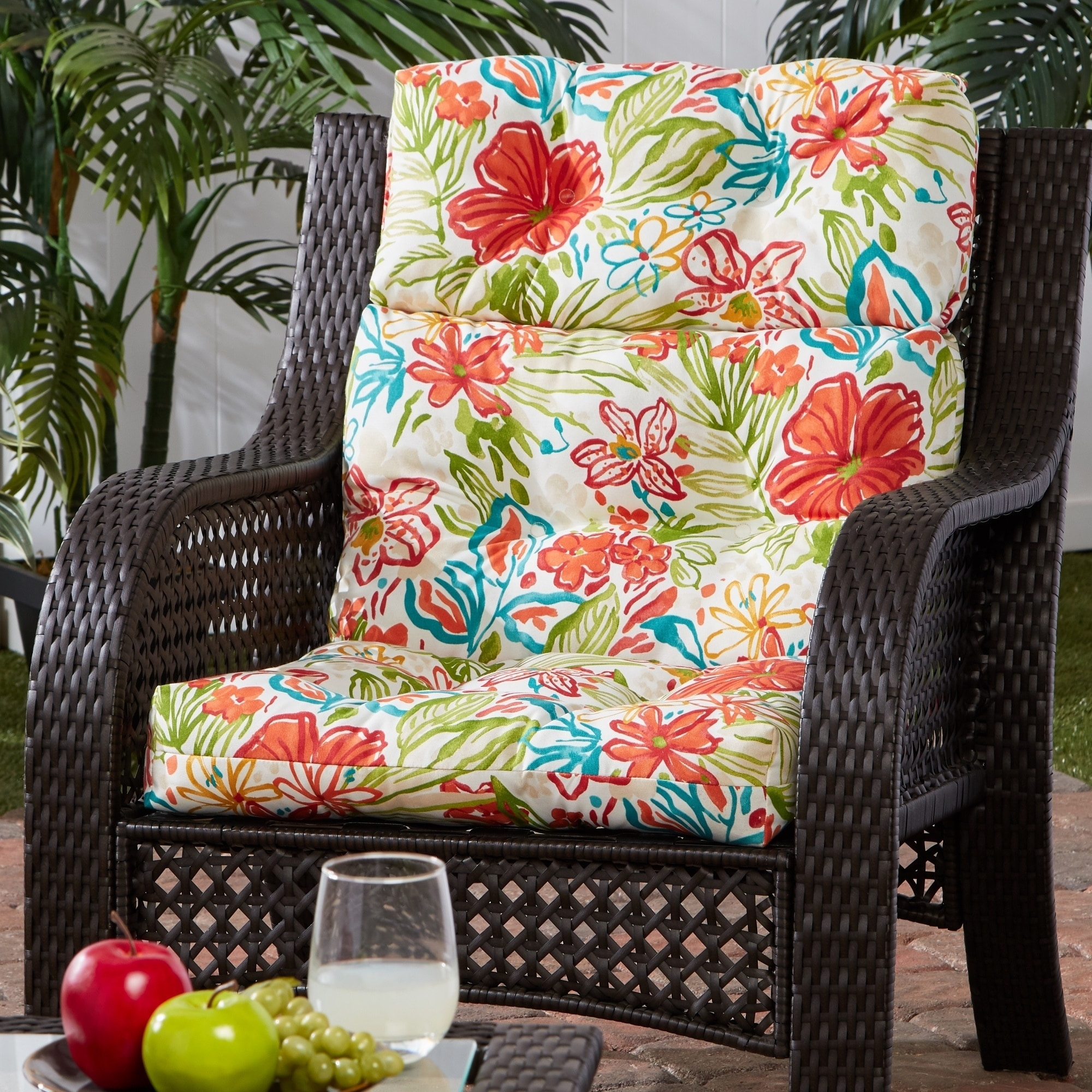 Image of: Shop Black Friday Deals On Breeze Floral 22 Inch X 44 Inch Outdoor High Back Chair Cushion Overstock 30757717