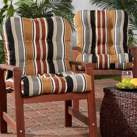 Brick Stripe 21-inch x 42-inch Outdoor Chair Cushion (Set of 2)