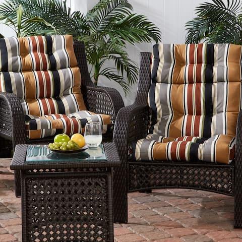 Brick Stripe 22-inch x 44-inch Outdoor High Back Chair Cushion (Set of 2)