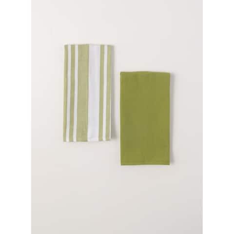 Stripe & Solid Tea Towel - Set of 2