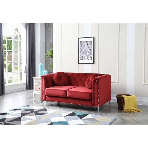 Pompano Velvet Button Tufted Loveseat