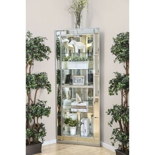 Furniture of America Aloma Silver Contemporary 5-Shelf Corner Curio