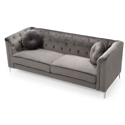Pompano Velvet Button Tufted Sofa