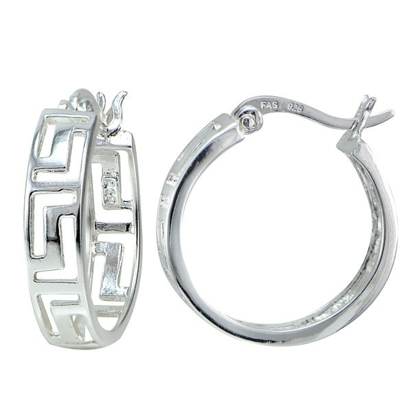 Mondevio Sterling Silver Greek Key Hoop Earrings