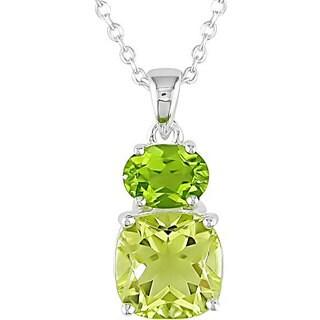 Miadora Sterling Silver Lemon Quartz and Peridot Necklace