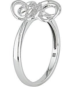 Miadora 10k White Gold Diamond Flower Ring - Thumbnail 1