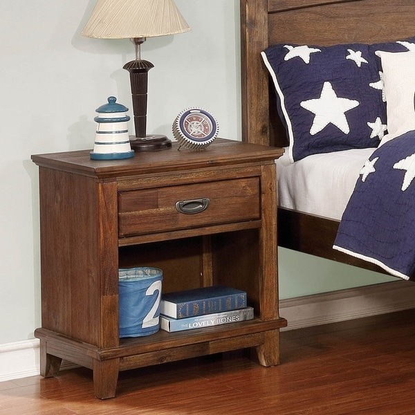 Furniture of America Tavy Transtional Dark Oak 1-Drawer Nightstand